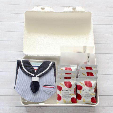 なつめチップ、なつめティー、スタイのセットです。スタイは、グランマーマのお針箱bib-bab です。