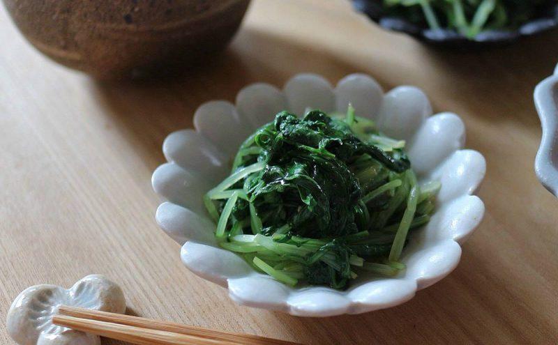 なつめ レシピ「水菜と大葉のわさび和え」