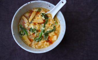 なつめレシピ 「菜の花と筍のサンラータン」