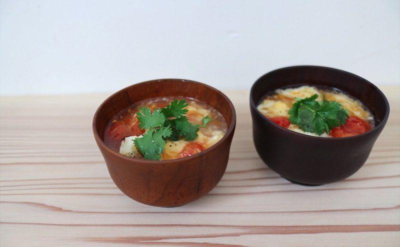 なつめ レシピ「トマトと卵のアジアンスープ 」