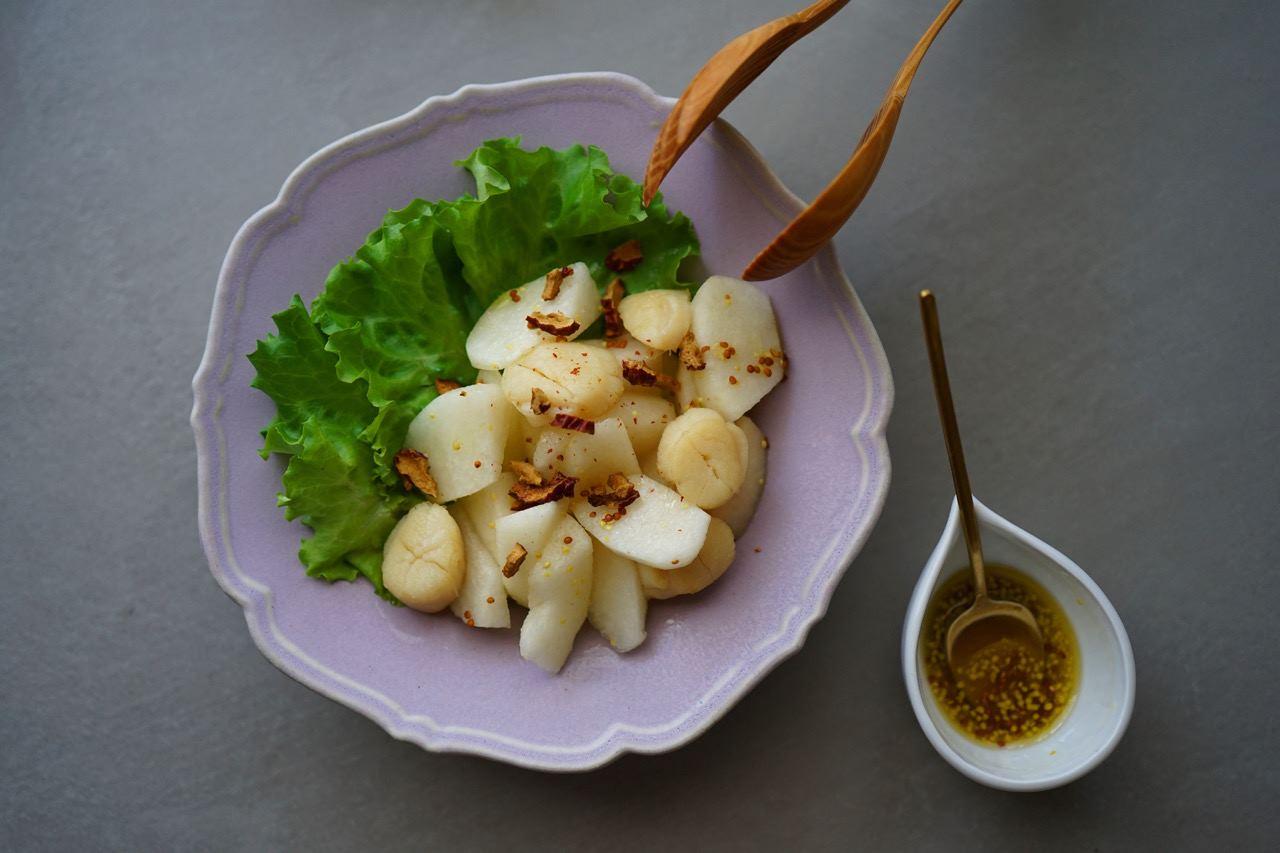 肺を潤す梨、陰液を補い乾燥を防ぐホタテ。秋の薬膳です。