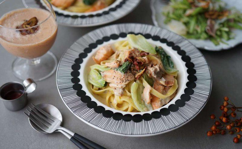 なつめ レシピ 「鮭とチンゲン菜の豆乳パスタ」