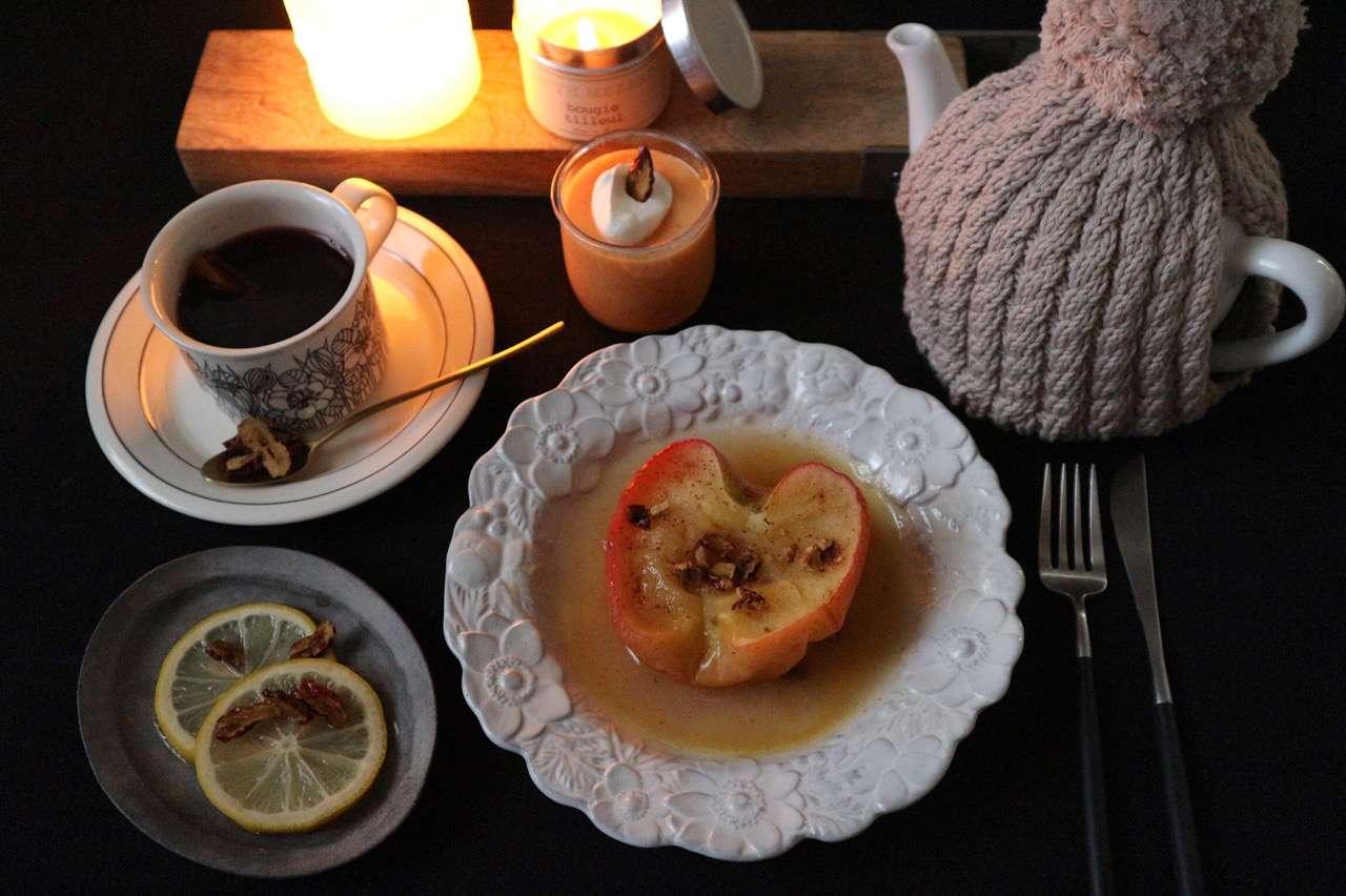 なつめづくしのメニュー りんご、きんかん、柿を使います