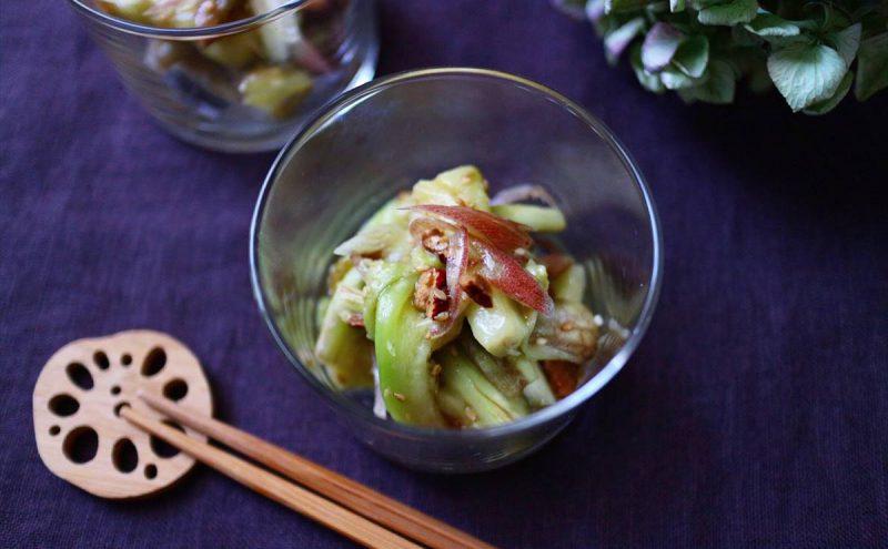 なつめ レシピ「茄子と茗荷のナムル」