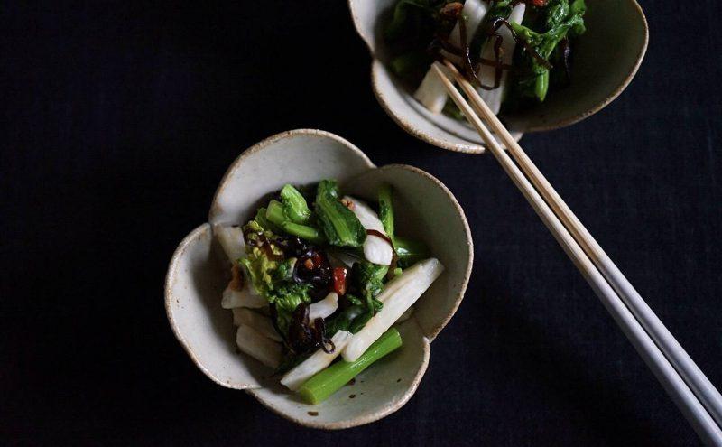 なつめ レシピ 「菜の花と長芋の塩こんぶ和え」
